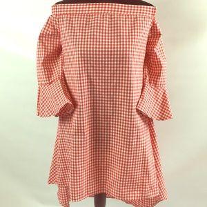Dresses & Skirts - Off the Shoulder Plaid Dress